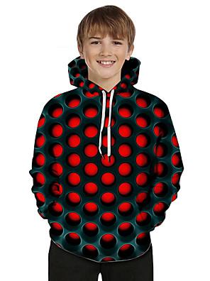 cheap Boys' Tops-Kids Toddler Boys' Active Basic Geometric Color Block 3D Print Long Sleeve Hoodie & Sweatshirt Red