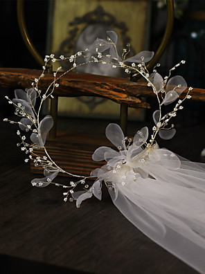 cheap Wedding Slips-One-tier Flower Style / Floral Wedding Veil Shoulder Veils with Pendant / Solid Tulle