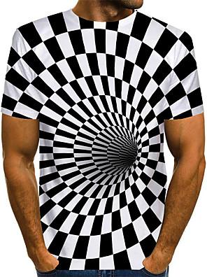 billige Herretopper-Herre T skjorte Grafisk 3D Print Store størrelser Trykt mønster Kortermet Daglig Topper Grunnleggende overdrevet hvit svart Svart hvit Hvit