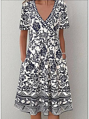 cheap Women's Dresses-Women's A-Line Dress Knee Length Dress - Short Sleeve Print Print Summer V Neck Casual Daily 2020 Black S M L XL XXL XXXL XXXXL XXXXXL