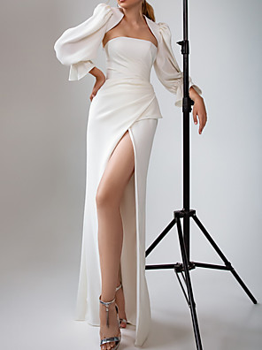 cheap Wedding Dresses-A-Line Wedding Dresses Strapless Floor Length Satin Long Sleeve Simple with Ruched Split Front 2020