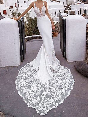 cheap Wedding Dresses-Mermaid / Trumpet Wedding Dresses V Neck Chapel Train Lace Stretch Satin Sleeveless Beach Sexy with 2020