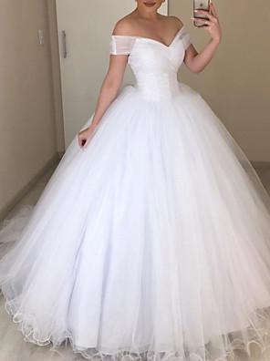 cheap Wedding Dresses-A-Line Wedding Dresses V Neck Floor Length Tulle Sleeveless Romantic with 2020