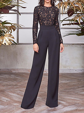 cheap Evening Dresses-Jumpsuits Elegant Vintage Party Wear Formal Evening Dress Jewel Neck Long Sleeve Floor Length Chiffon with Lace Insert 2020
