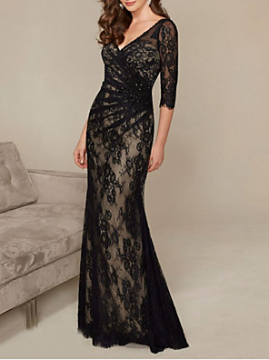 cheap Evening Dresses-Mermaid / Trumpet Mother of the Bride Dress Elegant V Neck Floor Length Lace Half Sleeve with Ruching 2020