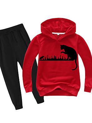 cheap Boys' Tops-Kids Boys' Basic Holiday Daily Wear Vacation Cat Print Print Long Sleeve Regular Regular Clothing Set Red