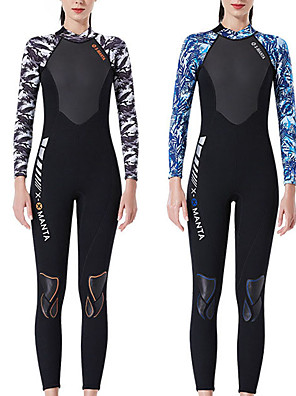 cheap Wetsuits, Diving Suits & Rash Guard Shirts-Dive&Sail Women's Full Wetsuit 3mm SCR Neoprene Diving Suit Thermal / Warm High Elasticity Long Sleeve Back Zip - Diving Water Sports Patchwork Autumn / Fall Spring Summer