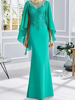 cheap Evening Dresses-Sheath / Column Mother of the Bride Dress Elegant Jewel Neck Floor Length Chiffon Lace Short Sleeve with Appliques 2020