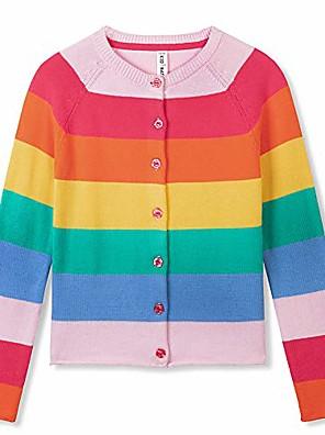 billige Bukser og leggings til piger-piger cardigan regnbue sweater til piger med lange ærmer uniform farverig strikket sweater i halsen