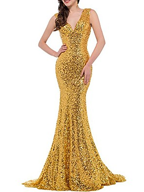 cheap Evening Dresses-Mermaid / Trumpet Elegant Sparkle Wedding Guest Formal Evening Dress V Neck Sleeveless Sweep / Brush Train Sequined with Sequin 2020