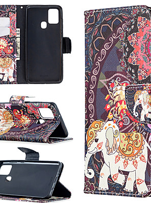 cheap Samsung Case-Case For Samsung Galaxy A21S Note 20 A31 A70E A41 A11 M11 A01 A21 S20 S20 Plus S20 Ultra A51 A71 Card Holder Flip Full Body Cases Animal Tree Flower PU Leather