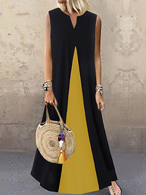 cheap Evening Dresses-Women's Swing Dress Maxi long Dress - Sleeveless Color Block Summer V Neck Casual Loose 2020 White Black Dusty Blue S M L XL XXL XXXL XXXXL XXXXXL