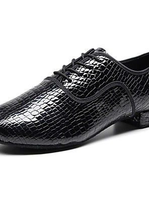 cheap Evening Dresses-Men's Latin Shoes Oxford Thick Heel Nappa Leather Black / Performance / Practice