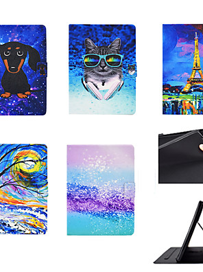 cheap iPad case-Case For Apple iPad 5 6 8 10.2 10.5 air air2 air3 ipad pro 11 Card Holder Shockproof Flip Full Body Cases  PU Leather TPU tree cat dog puppy flower cool pattern stand Auto sleep wake up