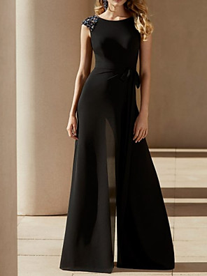 cheap Evening Dresses-Jumpsuits Mother of the Bride Dress Elegant Jewel Neck Floor Length Chiffon Sleeveless with Bow(s) Beading 2020