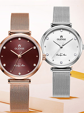 cheap Quartz Watches-Women's Steel Band Watches Quartz Modern Style Stylish Casual Water Resistant / Waterproof Analog Rose Gold White+Gold Silvery / White / Stainless Steel