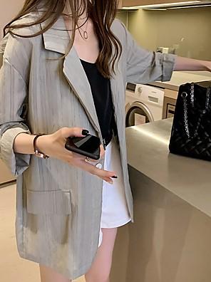 cheap Women's Coats & Trench Coats-Women's Blazer Shawl Lapel Striped White / Green L / XL / XXL