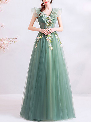 cheap Evening Dresses-A-Line Floral Sexy Party Wear Formal Evening Dress V Neck Sleeveless Floor Length Tulle with Appliques 2020