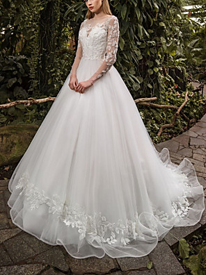 cheap Wedding Dresses-Ball Gown Wedding Dresses Jewel Neck Sweep / Brush Train Lace Tulle 3/4 Length Sleeve Country with Appliques 2020