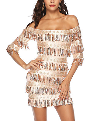 cheap Women's Dresses-Women's A-Line Dress Short Mini Dress - Half Sleeve Print Sequins Embroidered Tassel Fringe Summer Off Shoulder Sexy Party Club 2020 Gold S M L XL XXL