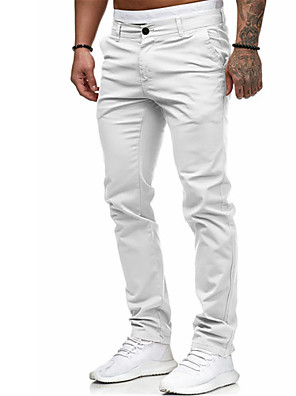 povoljno Muške košulje-Muškarci Osnovni Dnevno Chinos Hlače Jednobojni Outdoor Obala Crn Red M L XL