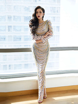 cheap Prom Dresses-Dance Costumes Dress Crystals / Rhinestones Women's Performance Long Sleeve Spandex