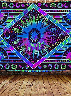 cheap Wall Tapestries-Tarot Divination Wall Tapestry Art Decor Blanket Curtain Picnic Tablecloth Hanging Home Bedroom Living Room Dorm Decoration Mysterious Bohemian Star Sun Moon Psychedelic