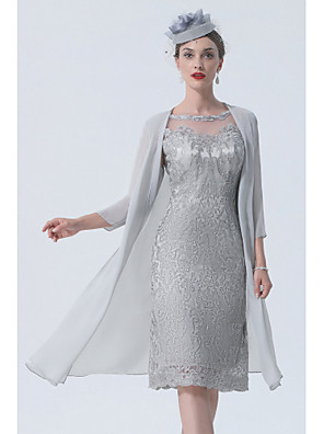cheap Wedding Wraps-Two Piece Mother of the Bride Dress Vintage Sexy Plus Size Jewel Neck Tea Length Chiffon 3/4 Length Sleeve with Lace 2020 Mother of the groom dresses