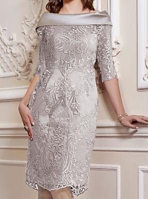cheap Evening Dresses-Sheath / Column Mother of the Bride Dress Elegant Off Shoulder Knee Length Lace Satin Half Sleeve with Appliques 2020
