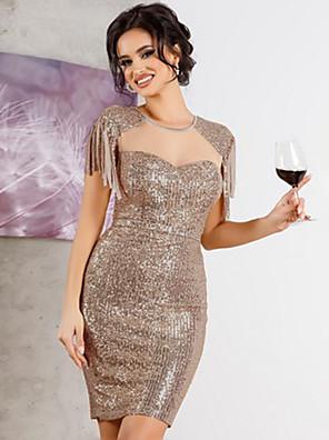 Χαμηλού Κόστους Μίνι Φορέματα-Γυναικεία Φόρεμα σε ευθεία γραμμή Μίνι φόρεμα - Κοντομάνικο Συμπαγές Χρώμα Πούλιες Δίχτυ Patchwork Καλοκαίρι Σέξι Εξόδου Σαββατοκύριακο Λεπτό 2020 Μαύρο Χρυσό Πράσινο του τριφυλλιού Τ M L XL XXL