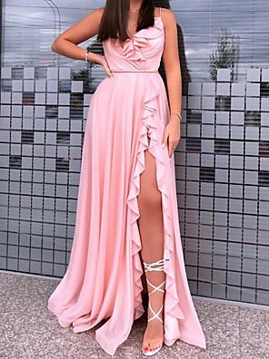 cheap Evening Dresses-A-Line Minimalist Sexy Wedding Guest Formal Evening Dress V Neck Sleeveless Sweep / Brush Train Stretch Satin with Pleats Ruffles Split 2020
