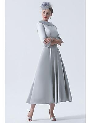 Χαμηλού Κόστους Φορέματα για τη Μητέρα της Νύφης-α-γραμμή φόρεμα της νύφης κομψό vintage συν μέγεθος μπέτσο λαιμό τσάι σατέν μήκους 3/4 με μανίκια 2020 η μητέρα του γαμπρού φορέματα
