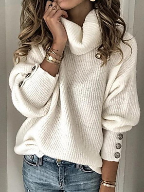 cheap Women's Blouses & Shirts-Women's Solid Color Pullover Long Sleeve Sweater Cardigans Turtleneck Fall Winter White Black Blue