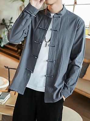 cheap Men's Shirts-Men's Shirt Solid Colored Long Sleeve Tops Cotton Linen Basic Standing Collar White Black Dark Gray