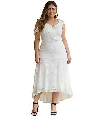 Χαμηλού Κόστους Μακριά Φορέματα-Γυναικεία Φόρεμα σε γραμμή Α Μακρύ φόρεμα - Αμάνικο Συμπαγές Χρώμα Δαντέλα Εξώπλατο Με Βολάν Άνοιξη Σέξι Πάρτι 2020 Λευκό Μαύρο XL XXL XXXL XXXXL XXXXXL