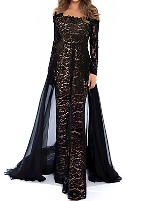 cheap Evening Dresses-Jumpsuits Beautiful Back Floral Engagement Formal Evening Dress Illusion Neck Long Sleeve Floor Length Lace Tulle with Appliques 2020