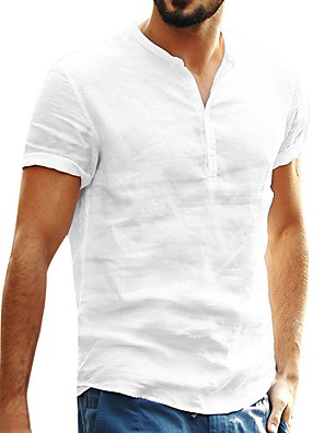 cheap Wedding Slips-Men's Causal Shirt Solid Color Short Sleeve Tops White Black Blushing Pink / Summer / Fall / Round Neck