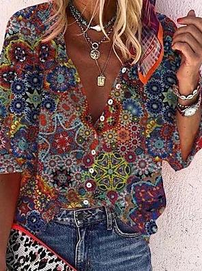 cheap Women's Blouses & Shirts-Women's Blouse Floral Print Shirt Collar Tops Loose Basic Basic Top Rainbow