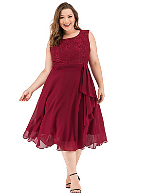 cheap Special Occasion Dresses-A-Line Elegant Minimalist Party Wear Cocktail Party Dress Jewel Neck Sleeveless Tea Length Lace with Pleats Ruffles 2020