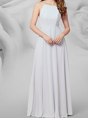 cheap Bridesmaid Dresses-A-Line V Neck Floor Length Chiffon Bridesmaid Dress with Pleats