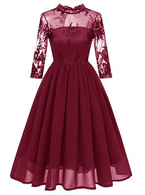cheap Cocktail Dresses-A-Line Elegant Minimalist Party Wear Cocktail Party Dress Illusion Neck 3/4 Length Sleeve Short / Mini Lace with Pleats 2020