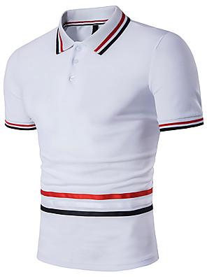 preiswerte Herren Polo Shirts-Herrn Übergrössen Polo Gestreift Kurzarm Oberteile Baumwolle Weiß Schwarz Grau