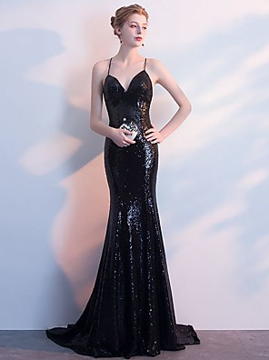 cheap Evening Dresses-Mermaid / Trumpet Glittering Beautiful Back Wedding Guest Formal Evening Dress V Neck Sleeveless Sweep / Brush Train Spandex with Sequin 2020