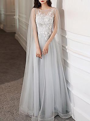 abordables Vestidos para Ocasiones Especiales-Corte en A Elegante Floral Invitado a la boda Evento Formal Vestido Joya Manga Larga Hasta el Suelo Tul con Apliques 2020