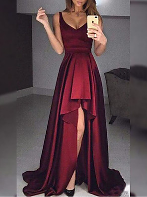 cheap Cocktail Dresses-A-Line Minimalist Sexy Wedding Guest Formal Evening Dress V Neck Sleeveless Sweep / Brush Train Satin with Ruffles 2020