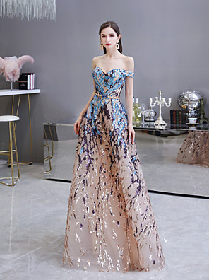 cheap Evening Dresses-A-Line Color Block Elegant Prom Formal Evening Dress Off Shoulder Sleeveless Floor Length Sequined with Sequin 2020