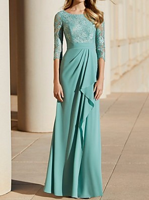 cheap Bridesmaid Dresses-Sheath / Column Mother of the Bride Dress Elegant Jewel Neck Floor Length Chiffon Lace Half Sleeve with Pleats 2020