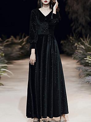 cheap Prom Dresses-A-Line Glittering Minimalist Wedding Guest Formal Evening Dress V Neck 3/4 Length Sleeve Floor Length Velvet with Sequin 2020