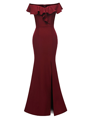 cheap Evening Dresses-Mermaid / Trumpet Elegant Minimalist Party Wear Formal Evening Dress Off Shoulder Short Sleeve Floor Length Satin with Ruffles Split 2020