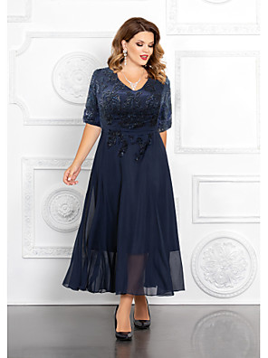 cheap Prom Dresses-A-Line Mother of the Bride Dress Elegant Plus Size V Neck Ankle Length Chiffon Sequined Half Sleeve with Appliques 2020 Mother of the groom dresses